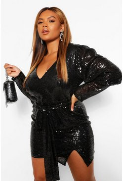Black Plus Sequin Puff Sleeve Tie Belted Mini Dress