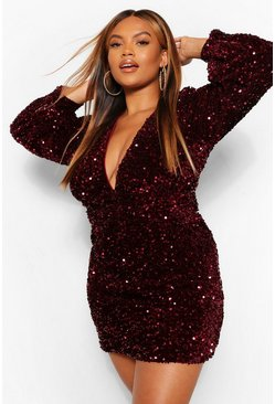 Berry red Plus Sequin Ruched Waist Wide Sleeve Dress