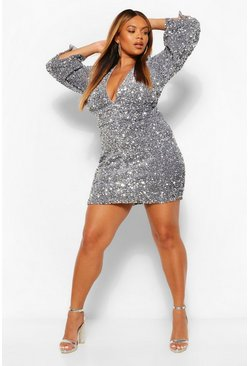 Silver Plus Sequin Ruched Waist Wide Sleeve Dress