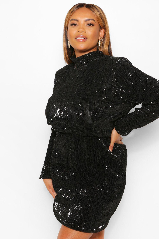 Sequin Dresses Plus Sequin High Neck Bodycon Dress