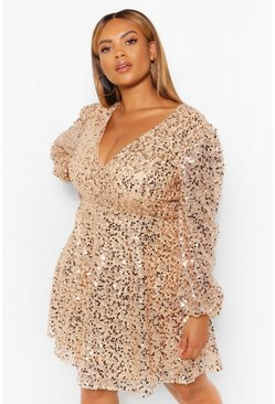 Gold metallic Plus Sequin Blouson Sleeve Skater Dress