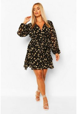 Black Plus Ruffle Hem Floral Mini Dress