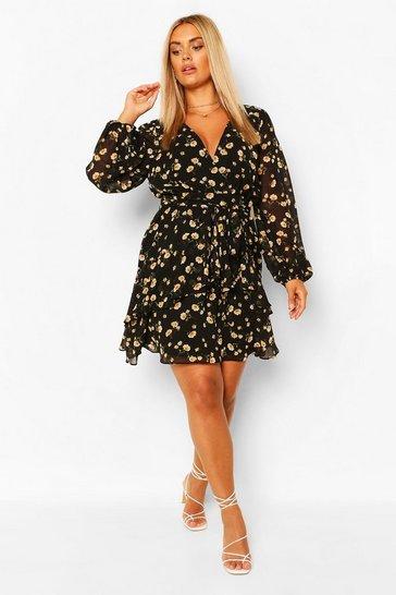 Black Plus Ruffle Hem Floral Mini Dress