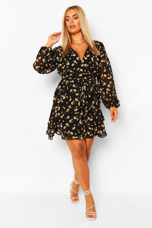 Plus Ruffle Hem Floral Mini Dress 7