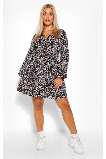 Black Plus Ruched Waist Floral Tea Dress