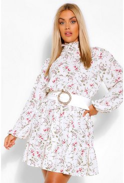 Ivory white Plus Floral High Neck Skater Dress