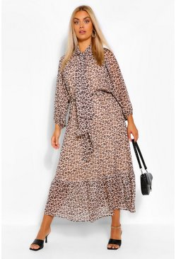 Brown Plus Leopard Balloon Sleeve Tie Neck Midaxi Dress