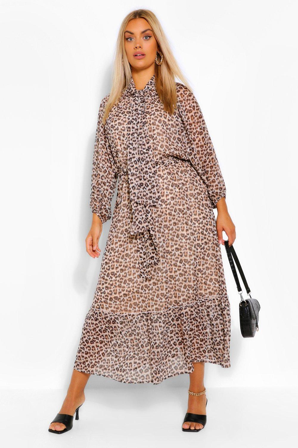 Plus Leopard Balloon Sleeve Tie Neck Midaxi Dress 7