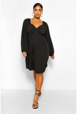 Black Plus Pleated Blouson Sleeve Skater Dress