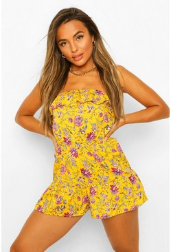 Yellow Petite Paisley Frill Edge Playsuit