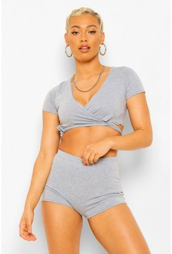 Grey Petite Wrap Tie PJ Short Set