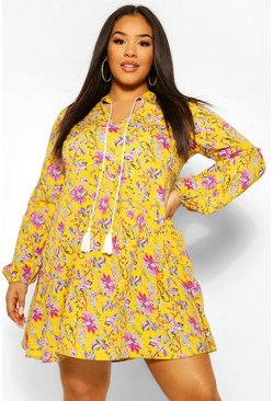Yellow Plus Woven Floral Print Smock Dress