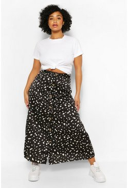 Black Plus Button Through Smudge Print Midi Skirt