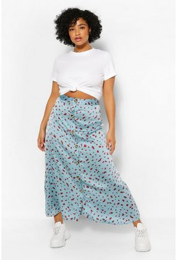 Blue Plus Button Through Smudge Print Midi Skirt