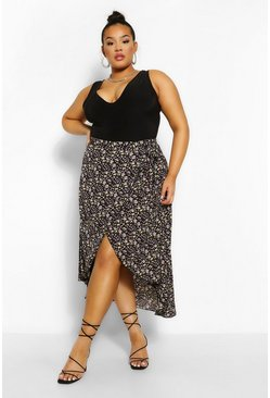 Black Plus Dark Floral Wrap Midi Skirt
