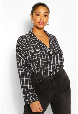 Black Plus Revere Collar Check Shirt