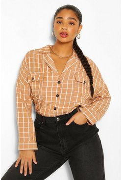 Tan Plus Revere Collar Check Shirt