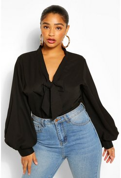 Zwart black Plus Blouse Met Strik
