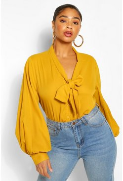 Mustard yellow Plus Pussybow Blouse
