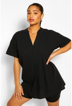 Zwart black Plusmaat longline tuniekblouse
