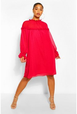 Red Plus Dobby Ruffle Smock Dress