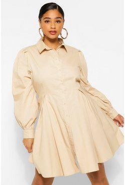 Stone beige Plus Puff Sleeve Smock Shirt Dress