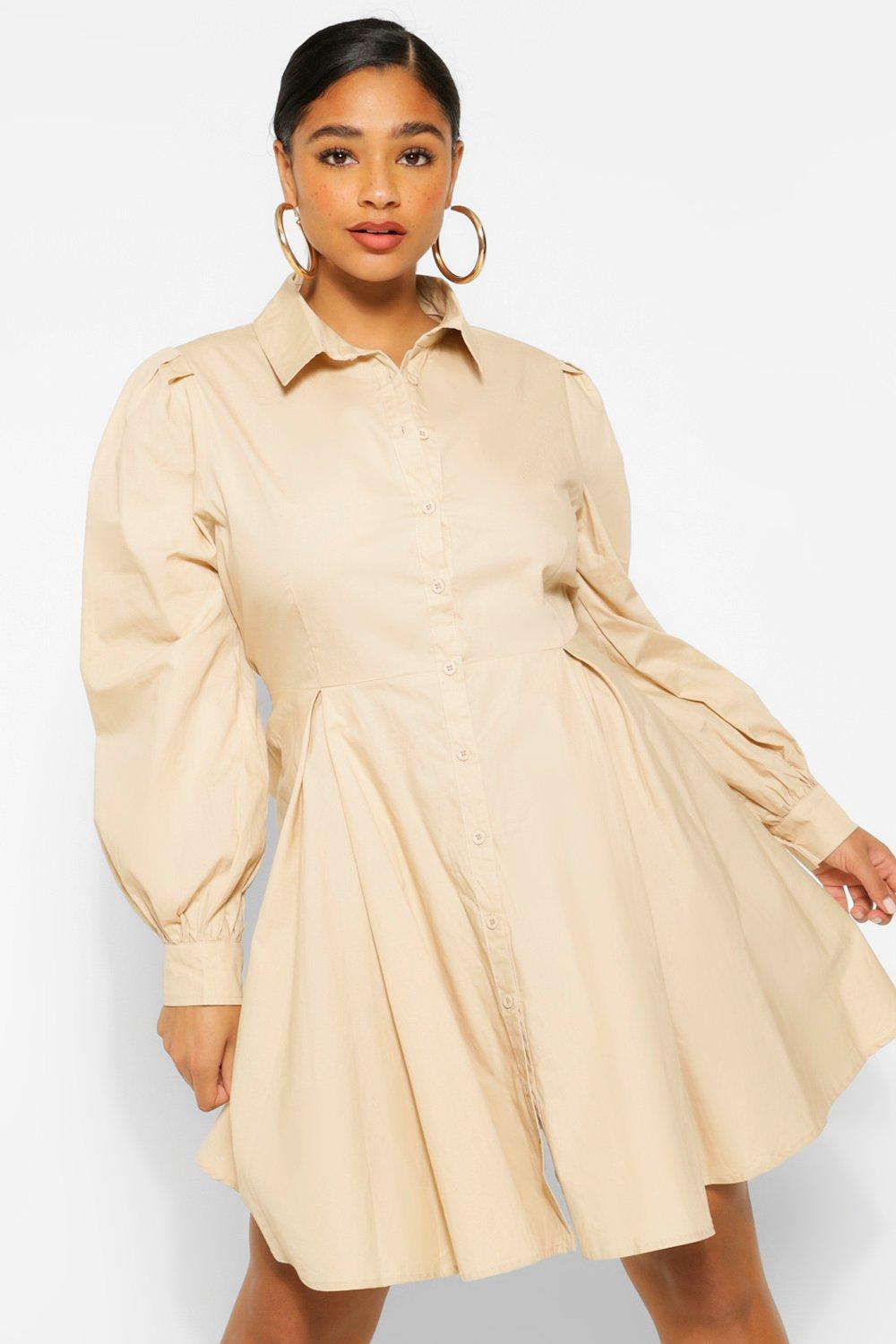 Plus Puff Sleeve Smock Shirt Dress 17