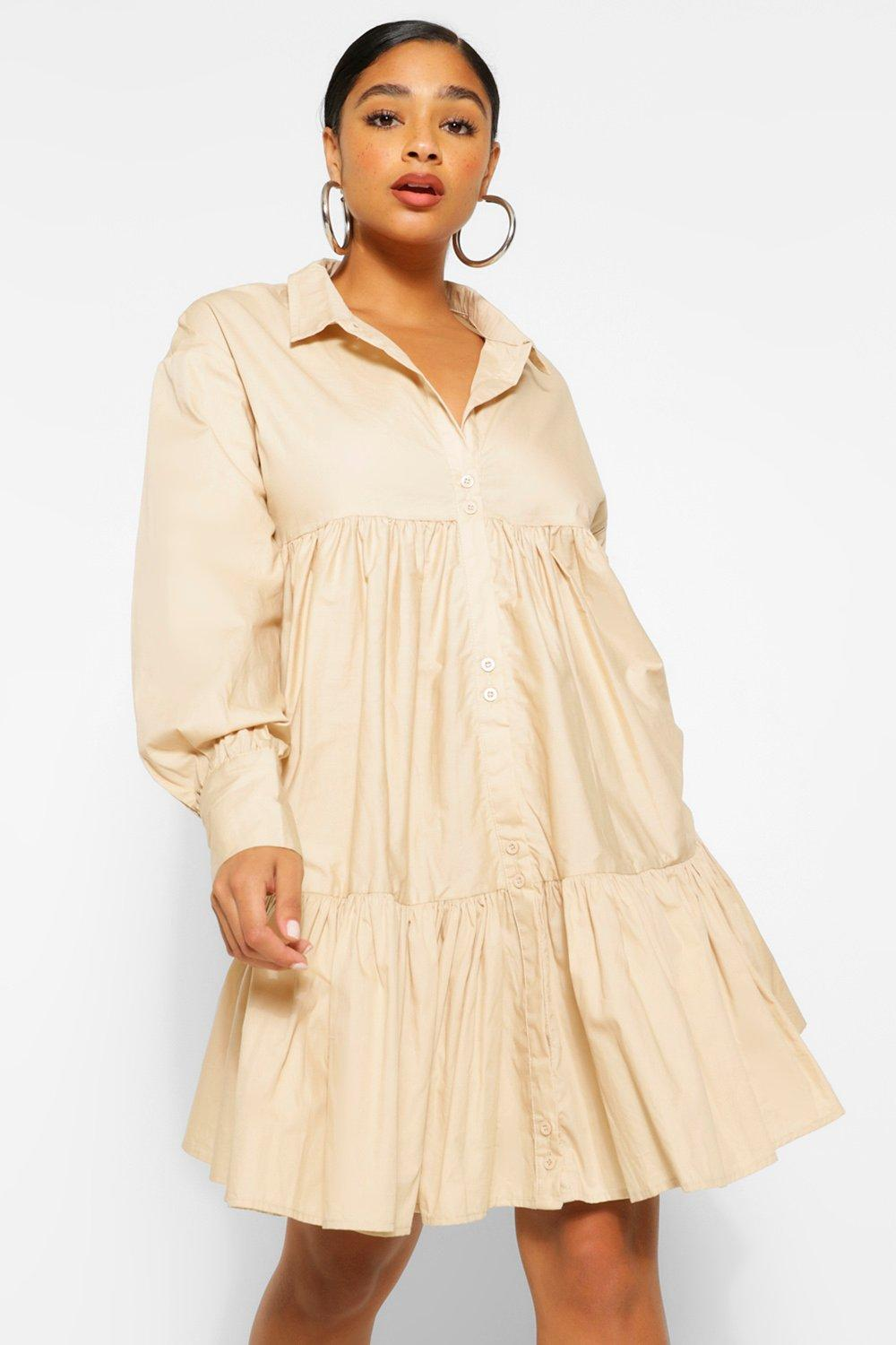 Plus Smock Tiered Shirt Dress 19