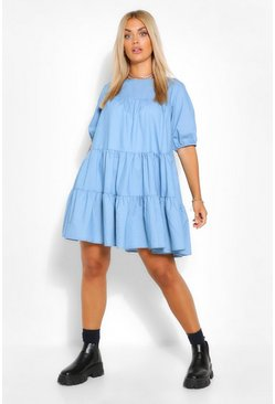 Blue Plus Chambray Tiered Smock Dress