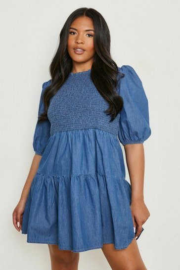 Blue Plus Chambray Shirred Smock Dress