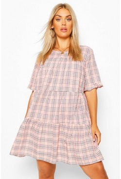 Pink Plus Check Tiered Smock Dress