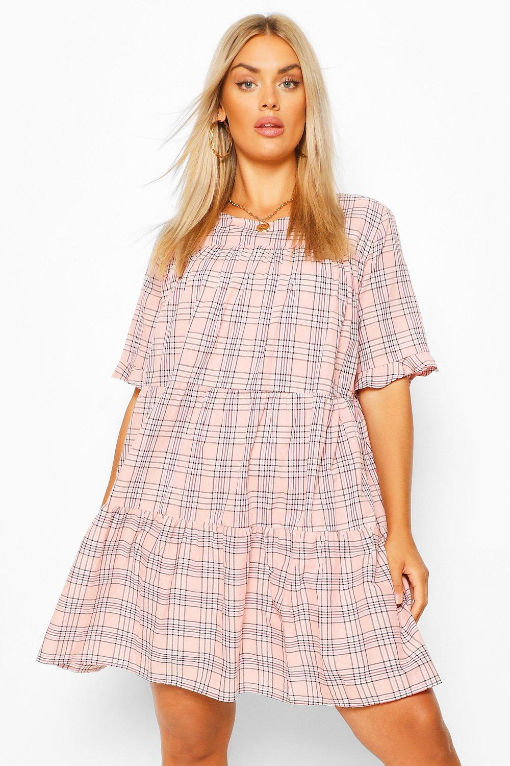 Plus Check Tiered Smock Dress 6
