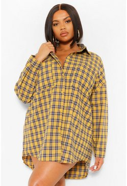 Mustard yellow Plus Boyfriend Flannel Oversized Shirt Dress