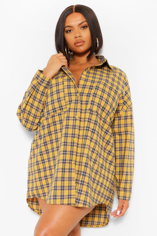 Plus Boyfriend Check Oversized Shirt Dress 8