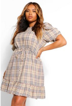 Stone beige Plus Check Puff Sleeve Smock Dress