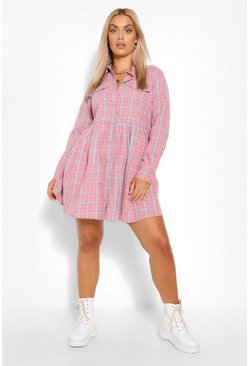 Rose pink Plus Check Smock Dress