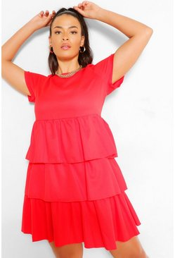 Red Plus Tiered Ruffle Smock Dress