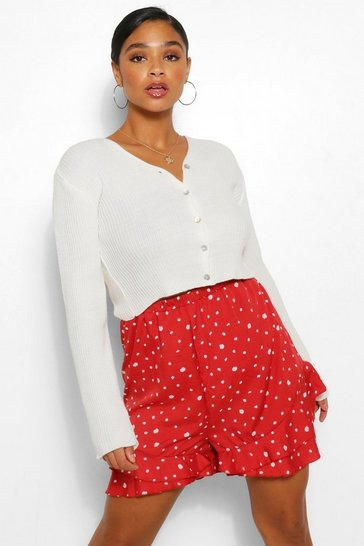 Red Plus Smudge Spot Print Ruffle Short