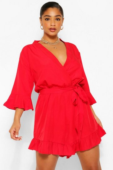 Red Plus Wrap Ruffle Hem Playsuit
