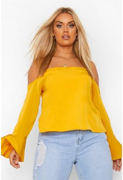 Plus Cold-Shoulder-Oberteil aus Webstoff, Senfgelb gelb