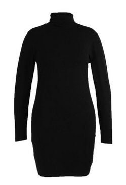 Black Plus Long Sleeve Roll Neck Mini Bodycon Dress