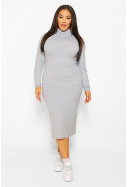 Grey marl grey Plus Long Sleeve Roll Neck Midi Dress