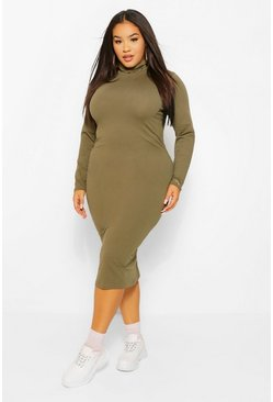 Khaki Plus Long Sleeve Roll Neck Midi Dress