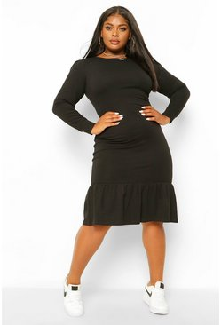 Black Plus Long Sleeve Frill Hem Midi Dress