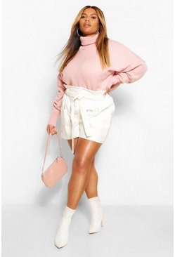 Blush pink Plus Oversize Sleeve Turtle Neck Knitted Jumper