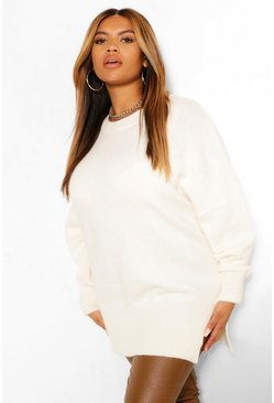 Cream white Plus Oversized Balloon Sleeve Knitted Jumper