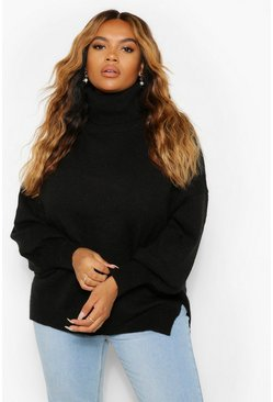 Black Plus Knitted Blouson Sleeve Jumper