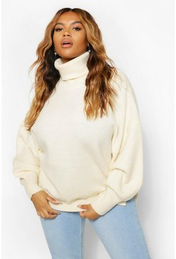 Ecru white Plus Knitted Blouson Sleeve Jumper