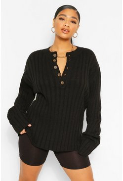 Black Plus Knitted Rib Button Down Jumper