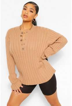 Mocha beige Plus Knitted Rib Button Down Sweater